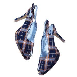 Yoki Blue & Orange Fabric Peep Toe Heel 10